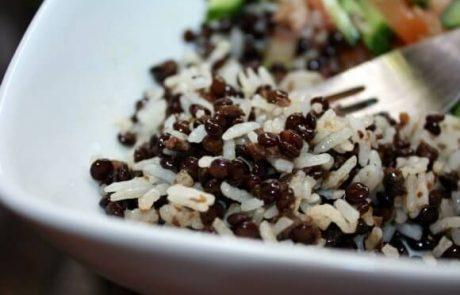 מג'דרה עדשים שחורות (טבעוני, ללא גלוטן)